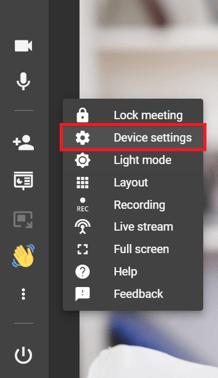 Meeting left sidebar - device settings EN)