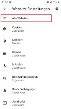 Smartphone Browser Website-Einstellungen Berechtigungen-Alle Websites