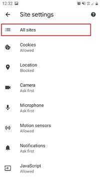 Smartphone browser site settings overview-all sites